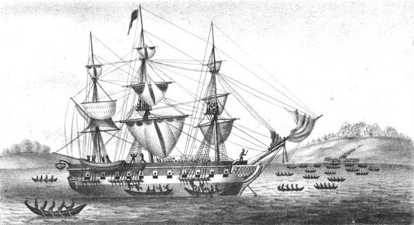 Drawing of the Tonquin under attack from tribal warriors off the West Coast of Vancouver Island in 1811.