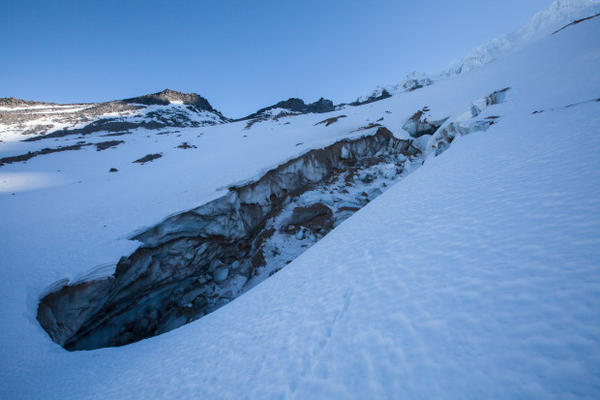 <p>As the 2,451-foot-long Snow Dragon cave collapsed, beginning in late 2014, it created a series of canyons within the Sandy Glacier. Once the process of collapse began, it proved unstoppable.</p>