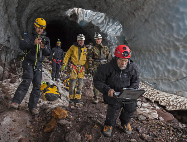 <p>In 2015 and 2016, Pure Imagination was investigated by Dr. Andreas Pflitsch and his team from Ruhr University in Bochum, Germany. Using a variety of climate data loggers, temperature sensors and thermal imaging cameras, they sought to better understand the causes behind the sudden collapse of the glacier caves.</p>