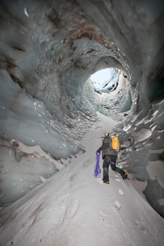 "<p>The spectacular ""Cerberus Moulin"" as it looked in November 2011. The moulin, or hole, dropped nearly 150 feet from the surface of the glacier to the floor of Pure Imagination cave. To enter and exit, the cave explorers used a complex system of ropes that were anchored into nothing more than snow and ice.</p>"