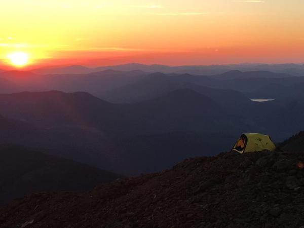 <p>Sunset over Kamp Tenacious. Mount Hood, Oregon.</p>