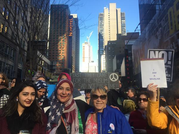 "Amal Bajes was at the ""I Am Muslim Too"" rally in New York City's Times Square with her daughter on Sunday."