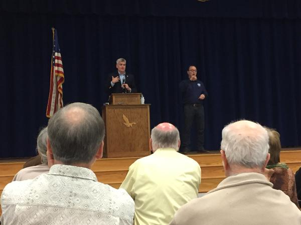 Senator Bill Cassidy (R-LA) addresses a town hall meeting in Livingston Parish