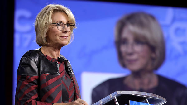 Education Secretary Betsy DeVos addresses the Conservative Political Action Conference at the Gaylord National Resort and Convention Center Thursday at National Harbor, Md.