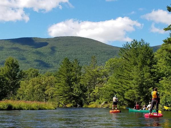 Visitors to Katahdin Woods and Waters paddle the East Branch of the Penobscot River in August, 2016..