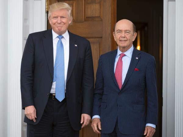 Federal conflict-of-interest laws require officials like commerce secretary nominee Wilbur Ross (right) to divest holdings, but President Trump is not covered by those requirements.