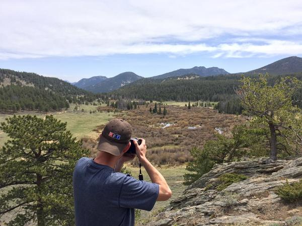 Wes photographs Hollowell Park in Rocky Mountain National Park, while working on a 360° WebVR story about geologic time
