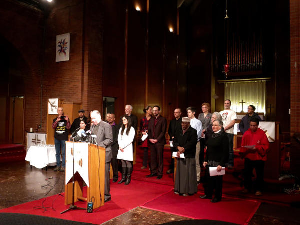 <p>Pastor Mike Knutson leads members of Portland's faith and immigration community against new Trump administration deportation efforts.</p>