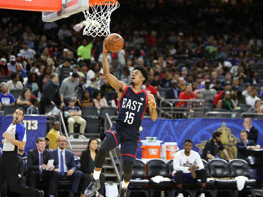 Quinn Cook No.15 of the East Team drives to the basket during the NBA D-League All-Star Game as part of 2017 All-Star Weekend at the Mercedes-Benz Superdome on Feb. 18, 2017.