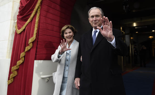 Former President George W. Bush and first lady Laura Bush arrive for Donald Trump's inauguration Jan. 20 at the U.S. Capitol. Monday on <em>Today,</em> Bush commented regarding developments in the nascent Trump presidency.