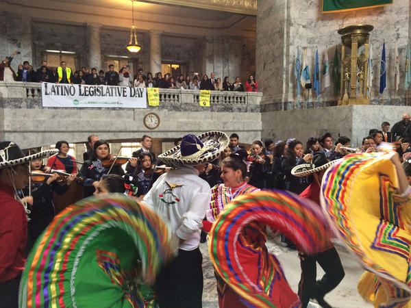 Crowds gathered inside the Legislative Building in Olympia Monday, to watch a colorful performance and listen to lawmakers speak during Latino Legislative Day.