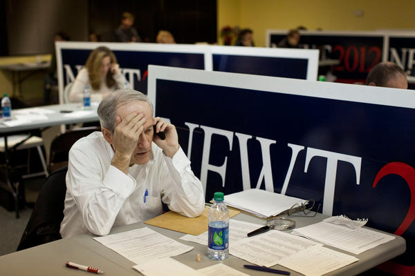 Volunteer Ken Brolin canvasses voters from Gingrich's Des Moines headquarters. Gingrich finished fourth in the Jan. 3 Iowa caucuses.