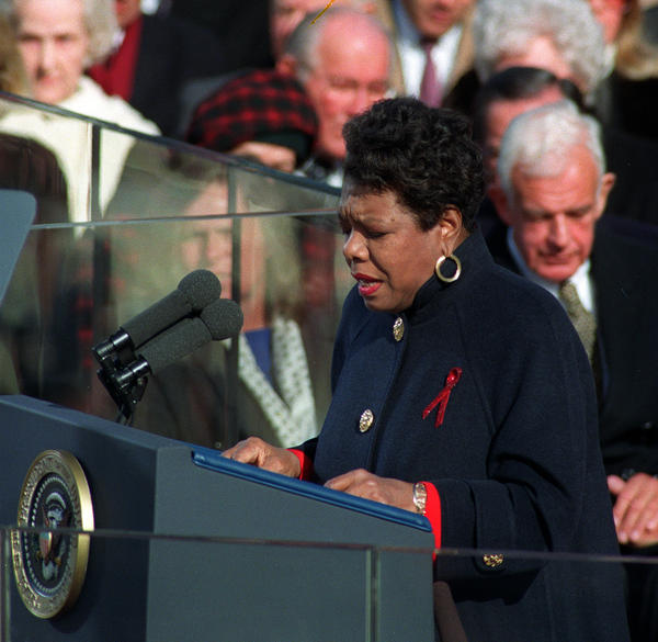 "Angelou recites her poem ""On the Pulse of the Morning"" during President Clinton's inauguration in Washington, D.C., on Jan. 20, 1993."