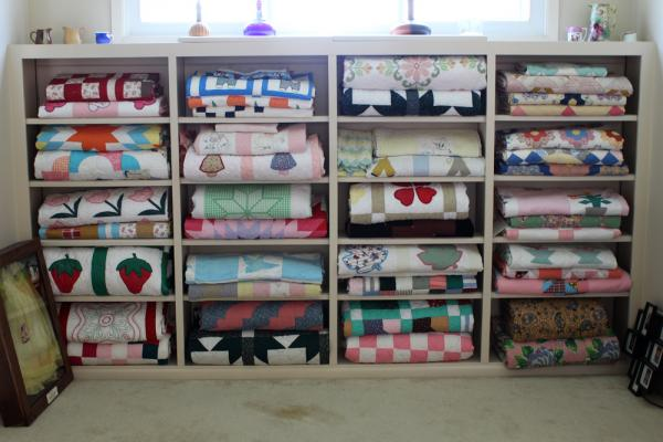 Diane Aaron has a large collection of quilts, many of which were made by her grandmother and other members of her family.