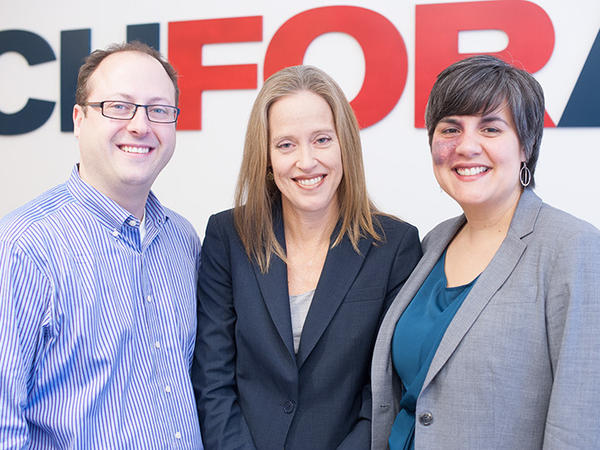 TFA at 25 years (from left): Matt Kramer, current co-CEO; Wendy Kopp, founder; Elisa Villanueva Beard, current co-CEO.