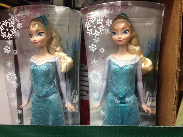 Dolls depicting Elsa from the Disney film <em>Frozen</em> — the movie's merchandise is expected to be the most popular gift for girls this holiday season — await pickup Sunday at an Amazon warehouse in Tracy, Calif.