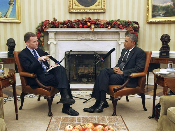 <em>Morning Edition</em> host Steve Inskeep interviews President Obama on Dec. 17 in the Oval Office, where they discussed recent moves on Cuba and immigration, and prospects for cooperation with a GOP-dominated Congress.