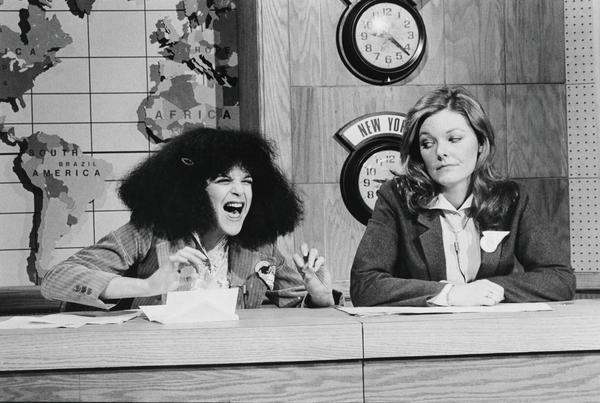 Roseanne Roseannadanna (Gilda Radner) with Jane Curtin in 1979.