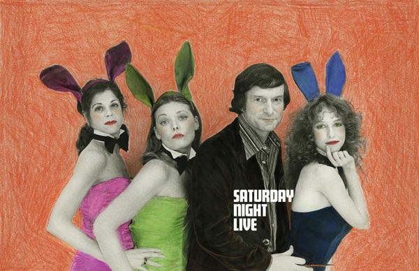 """Hugh Hefner poses with (from left) Gilda Radner, Jane Curtin and Laraine Newman in 1977. Edie Baskin says she remembers using """"markers, pencils, oils, colored chalk"""" to create images like these."""