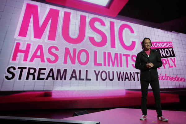 T-Mobile CEO John Legere pitches a plan that allows unlimited music streaming without additional data charges. Some net neutrality proponents want the FCC to limit plans like these; the commission says it will review them on a case-by-case basis.