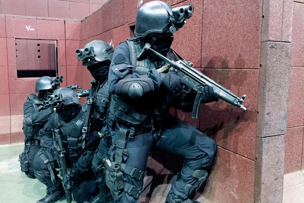 Members of Saudi Arabia's elite special operations forces take part in a drill at a secretive training center on the outskirts of Riyadh, the capital. In this exercise, officers move through a building in an attempt to clear a militant hideout in less than two minutes.