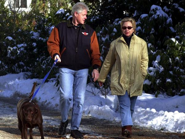 "The Clintons leaving their home in Chappaqua, N.Y., in 2001. ""Secrecy and transparency are always an issue for the Clintons, will always be an issue for her, and probably are her main vulnerability,"" says political columnist Matt Bai."