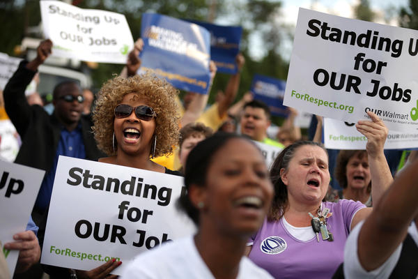 Hundreds of demonstrators rallied to protest Wal-Mart's labor practices in Hyattsville, Md., in Sept. 2013.