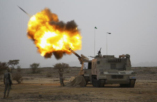 Saudi Arabia's army fires artillery shells toward Houthi rebels along the Saudi border with Yemen on April 15. Outside Saudi Arabia, many are critical of the military  campaign and question whether it will succeed, but it is popular inside the kingdom.