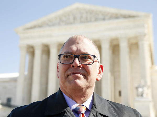 """Jim Obergefell in front of the Supreme Court last month. """"We did not set out to be activists,"""" Obergefell says. """"We did not set out to become a named plaintiff at the Supreme Court, nothing at all like that. We just simply wanted respect."""""""