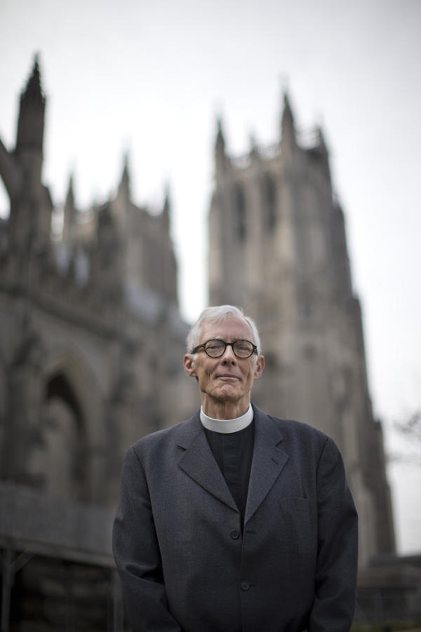 The Very Rev. Gary Hall, dean of the Washington National Cathedral, stands outside the church in Washington, D.C., in 2013.