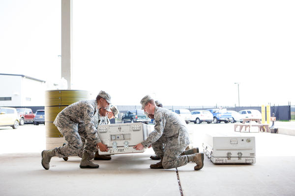 A carry team at Dover Air Force Base trains on the proper protocol for a dignified transfer.