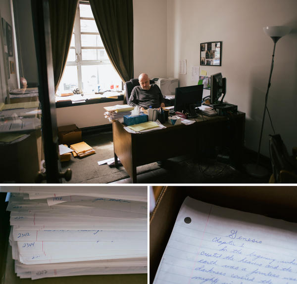 After 12 years in isolation, working in an office with other people was difficult for Brian Nelson. Now he has his own office down the street from the Uptown People's Law Center. In his office, he keeps a box with the more than 4,000 pages he hand-copied from the Bible while he was in prison.