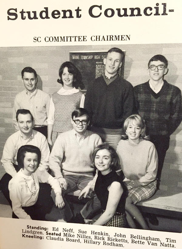 Hillary Clinton, featured in a high school yearbook with the student council.
