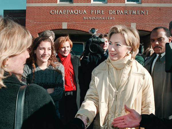 Local residents greet Clinton in front of the Chappaqua Fire Department in 2000.