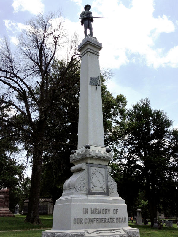 This Confederate monument in located in a cemetery in a mostly African-American part of Kansas City, Mo.