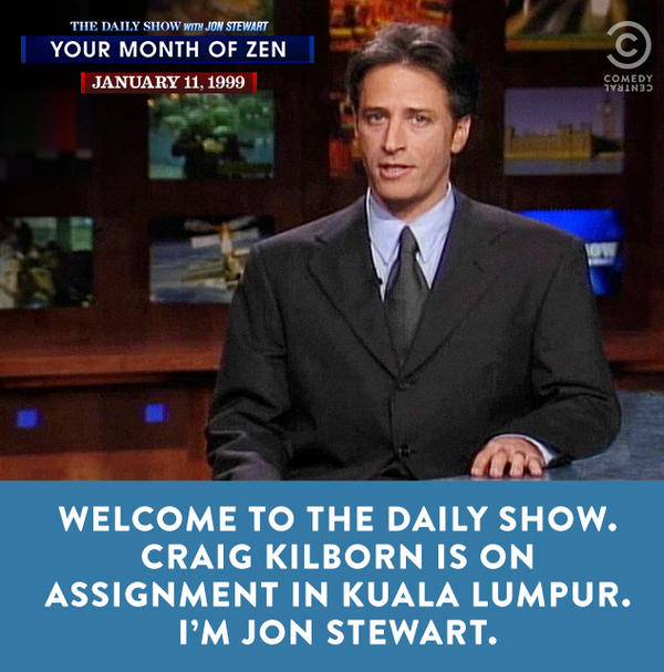 An image from Jon Stewart's first appearance as host of Comedy Central's <em>The</em> <em>Daily Show</em>.