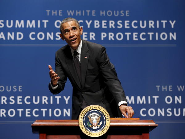 "President Obama, seen at a cybersecurity summit in Palo Alto, Calif., in February. The White House has called the Cybersecurity Information Sharing Act an ""important building block."""