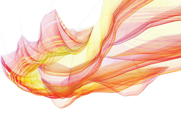 A rendering of Echelman's installation shows a billowing, color-changing net, suspended overhead.