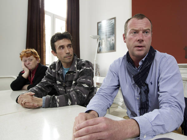 Dimitri Bontinck, right, took part in a 2013 meeting in Brussels with parents of other young Belgian men who'd left to fight in Syria.