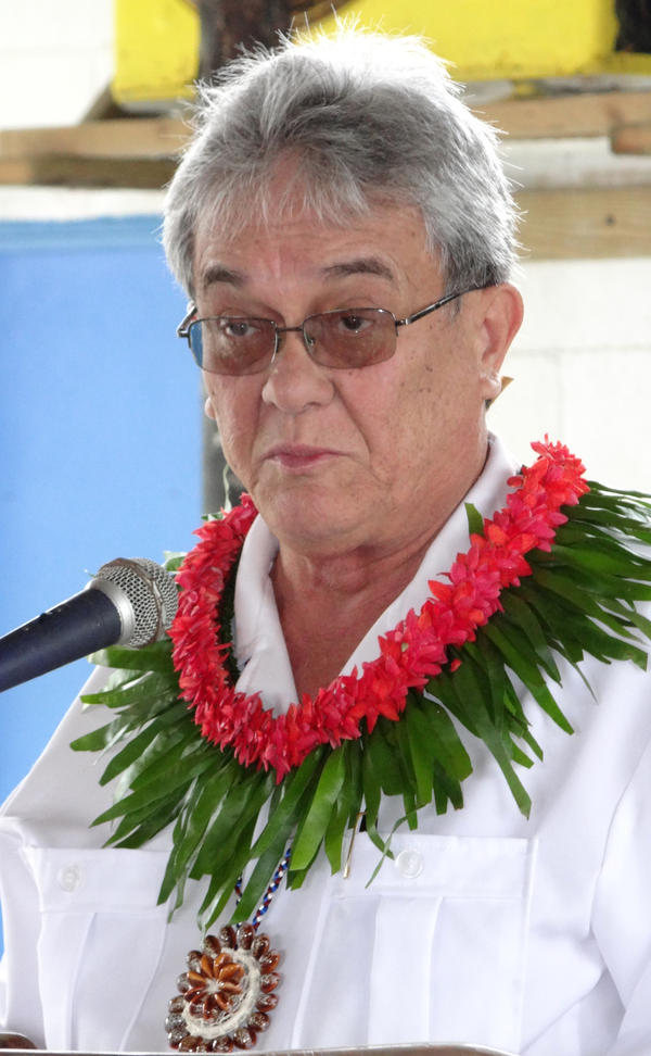 """De Brum says that the long-term goal of the climate summit, keeping temperature increases below 2 degrees Celsius, would still be a disaster for his country. Its slogan is """"1.5 to stay alive."""" He's shown here at a 2013 climate meeting in the Marshall Islands."""