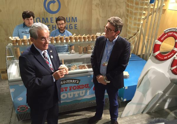 De Brum appears with the CEO of Ben & Jerry's, Jostein Soheim, at an event at the climate conference.