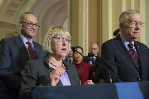 Sen. Patty Murray, D-Wash., joined by Senate Minority Leader Harry Reid, D-Nev., (right) and Sen. Chuck Schumer, D-N.Y., speaks to reporters after the Senate voted overwhelmingly to end debate on the makeover of the widely criticized No Child Left Behind Act.