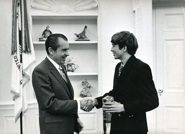 President Richard Nixon meets with John Kasich, a freshman at Ohio State, on Dec. 22, 1970.