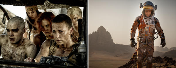 (Left) Nicholas Hoult, Courtney Eaton, Riley Keough and Charlize Theron in <em>Mad Max: Fury Road</em>. (Right) Matt Damon in <em>The Martian</em>.