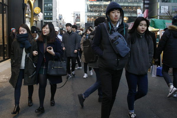 Young South Koreans in the Hongdae neighborhood of Seoul, the weekend following North Korea's latest announcement of a nuclear test.