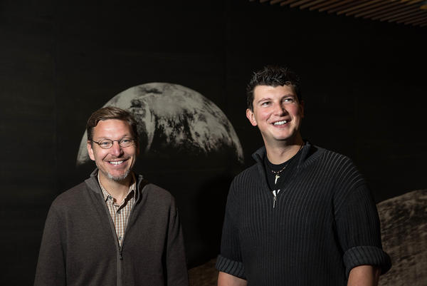 "Caltech astronomers Mike Brown (left) and Konstantin Batygin are ""willing to take bets"" that a giant ninth planet is lurking in our solar system — way, way out, beyond Neptune."
