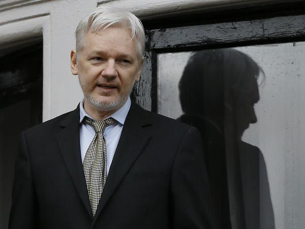 WikiLeaks founder Julian Assange speaks on the balcony of the Ecuadorean Embassy in London on Feb. 5.