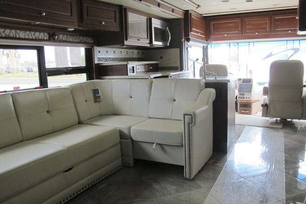 The interior of an RV at the annual RV show in Topeka, Kan.