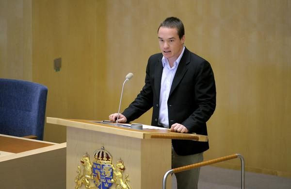 Kent Ekeroth, a politician with the nationalist Sweden Democrats party, shown here in 2011, believes many asylum seekers who claim to be minors are actually much older. He is calling for medical tests to confirm the ages of young migrants.