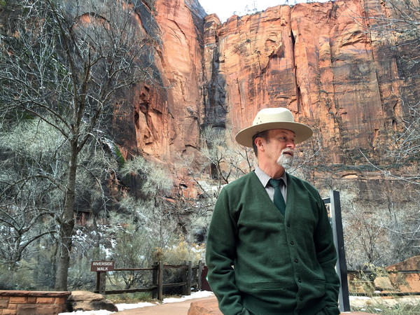 Jack Burns, chief of commercial partnerships and planning, stands at the Temple of Sinawava.
